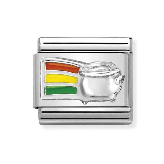 Classic Silver Rainbow & Pot of Gold Charm