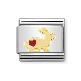 Classic 18ct Gold Rabbit with Heart Charm
