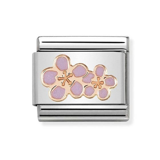 Classic 9ct Rose Gold Peach Flowers Charm
