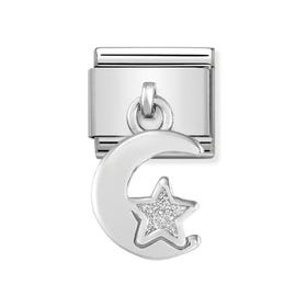 Classic Silver Moon & Star Pendant Charm
