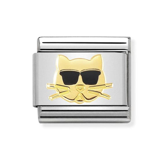 Classic 18ct Gold Cat with Glasses Charm