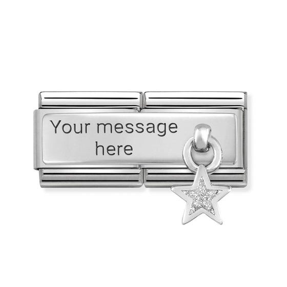 Classic Silver Glitter Star Double Charm