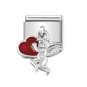 Classic Silver Angel with Heart Pendant Charm