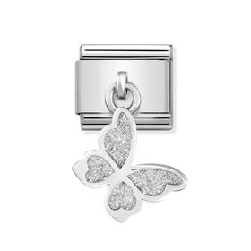 Classic Silver Glitter Butterfly Pendant Charm
