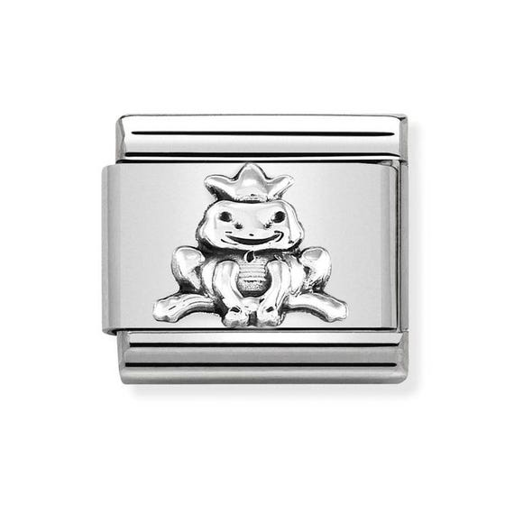 Classic Silver Frog with Crown Charm