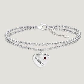 Love Silver & Garnet Heart Bracelet