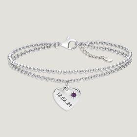 Love Silver & Amethyst Heart Bracelet