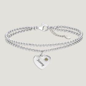 Love Silver & Peridot Heart Bracelet