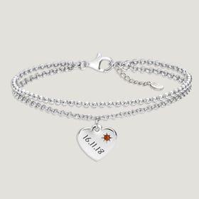 Love Silver & Citrine Heart Bracelet