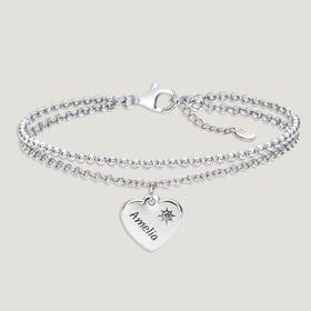Love Silver & Aquamarine Heart Bracelet