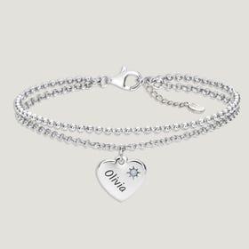 Love Silver & Moonstone Heart Bracelet