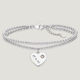 Love Silver & Opal Heart Bracelet