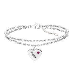 Love Silver & Ruby Heart Bracelet