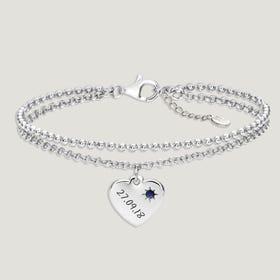 Love Silver & Sapphire Heart Bracelet