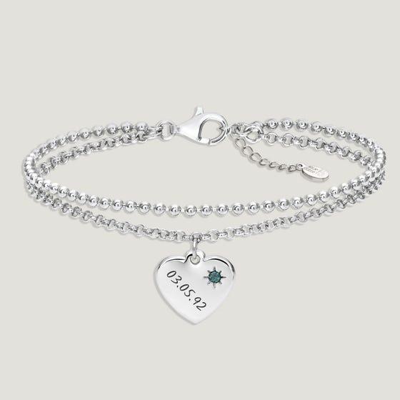 Love Silver & Emerald Heart Bracelet