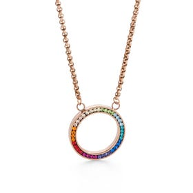 Elegance Halo Necklace Rainbow Crystal