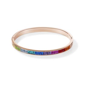 Elegance Halo Rose Bangle Rainbow Crystal