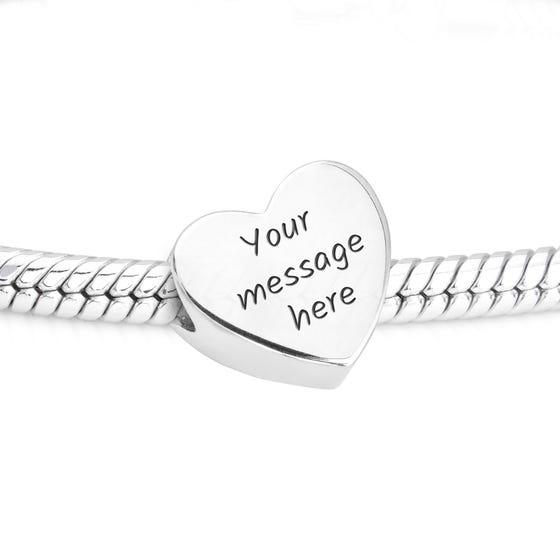 Engravable Silver Heart Charm Fits Pandora