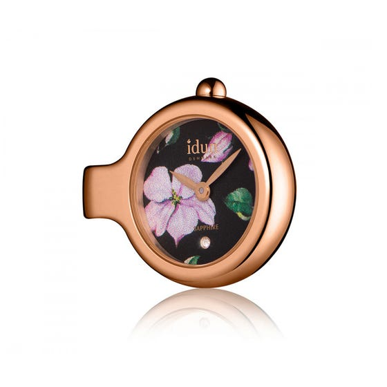 Rose Gold Plated Floral Pendant Watch Charm Fits Pandora