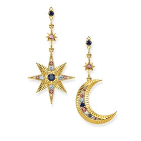 Gold Plated Silver Royalty Star & Moon Drop Earrings