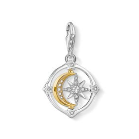 Silver Movable Star & Moon Compass Charm