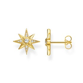 Sparkling Stars Gold Plated Silver Stud Earrings