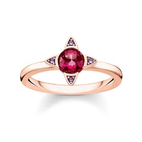 Colourful Stones Rose Gold Plated Silver Ring
