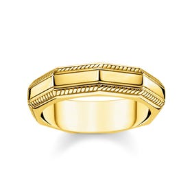 Angular Gold Plated Silver Band Ring