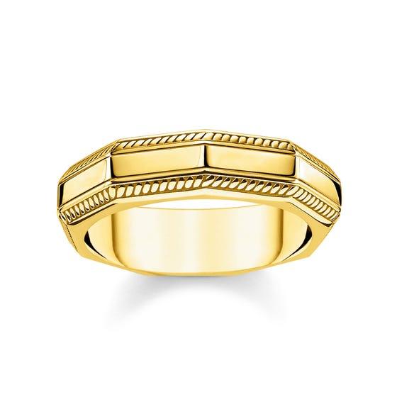 Angular Gold Plated Silver Band Ring