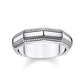 Angular Silver Band Ring