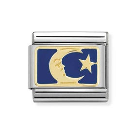 Classic Gold Blue Moon & Star Charm