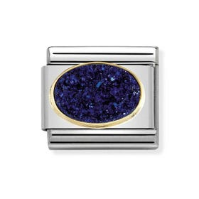 Classic Gold & Drusy Agate Midnight Blue Charm