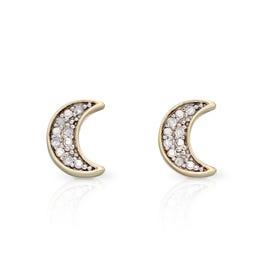 9ct Gold Moon Diamond Stud Earrings