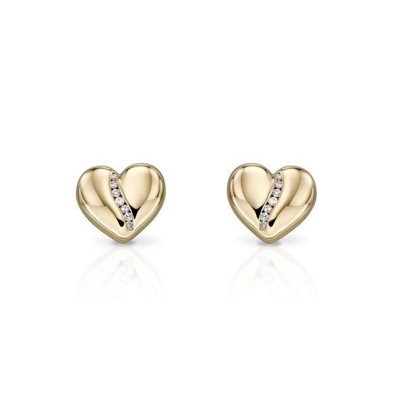 9ct Gold Diamond Channel Heart Earrings