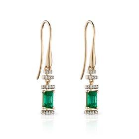 9ct Gold Emerald & Diamond Deco Earrings