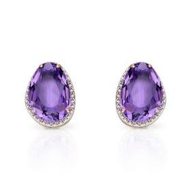 9ct Gold Organic Shaped Amethyst & Diamond Stud Earrings