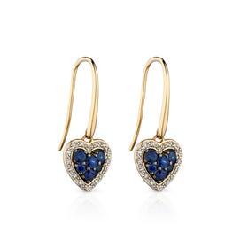 9ct Gold Sapphire & Diamond Heart Earrings