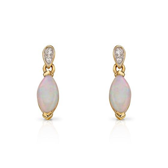 9ct Gold Diamond & Opal Earrings