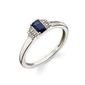 9ct White Gold Sapphire & Diamond Deco Ring
