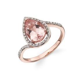 9ct Rose Gold Morganite & Diamond Teardrop Ring