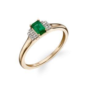 9ct Gold Emerald & Diamond Deco Ring