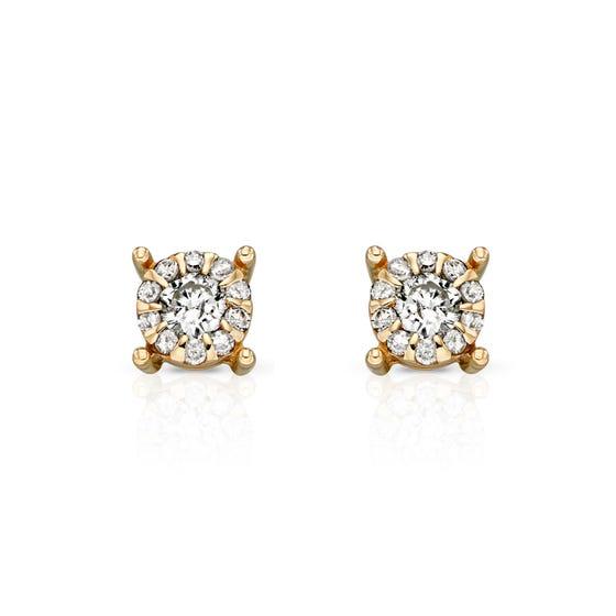 9ct Gold 0.16ct Diamond Cluster Stud Earrings