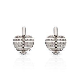 9ct White Gold Split Diamond Heart Earrings