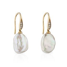 9ct Gold Baroque Pearl & Diamond Earrings
