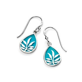 Sophia Silver Blue Enamel Leaf Design Earrings