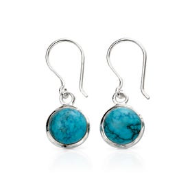 Athena Silver Round Magnesite Drop Earrings