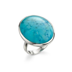 Athena Silver Large Oval Magnesite Ring