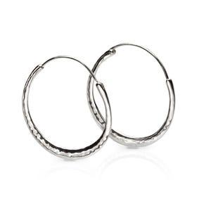 Minerva Silver Skinny Hammered Hoop Earrings