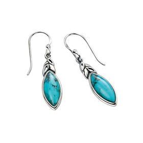 Sophia Silver Turquoise Leaf Shape Earrings