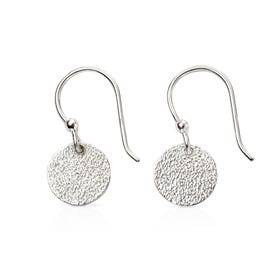 Minerva Silver Textured Disc Earrings